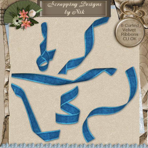 Blue Velvet Curled Ribbons