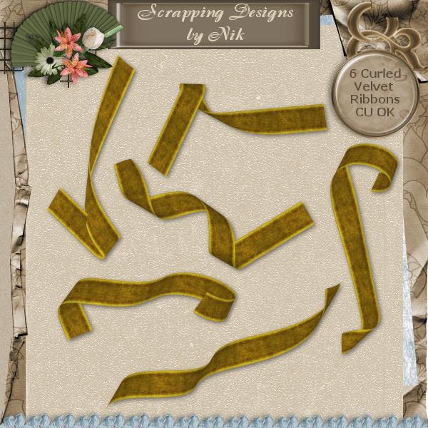 Gold Velvet Curled Ribbons