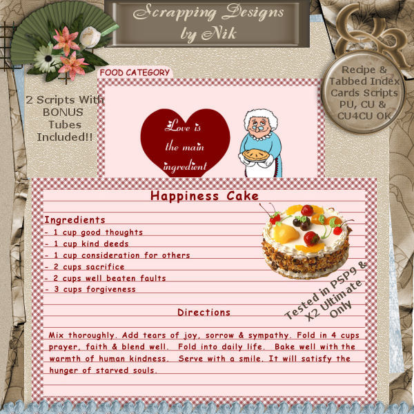 Recipe Cards PSP Scripts