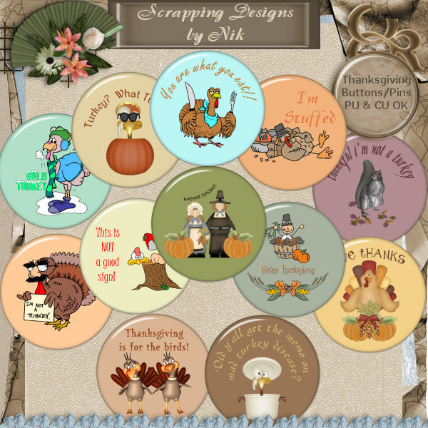 Thanksgiving Buttons/Pins