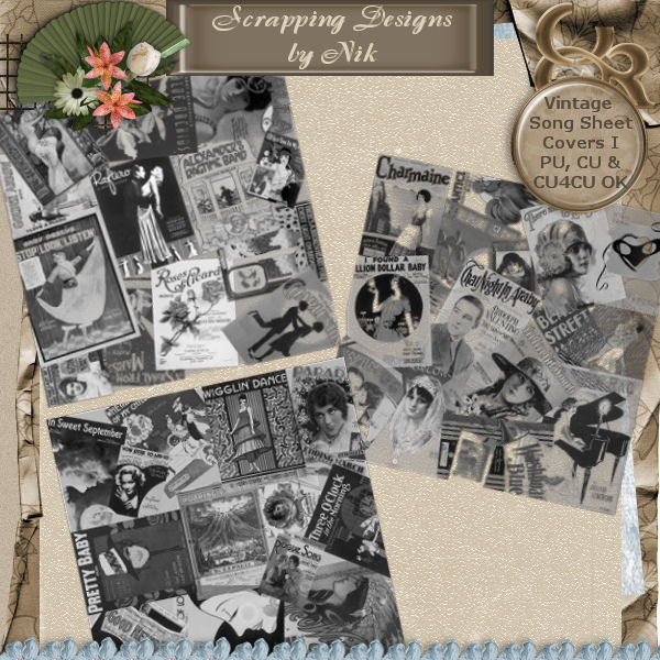 Vintage Song Sheet Cover Overlays I