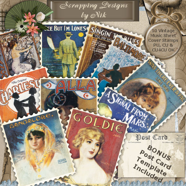 Vintage Song Cover Sheet Stamps