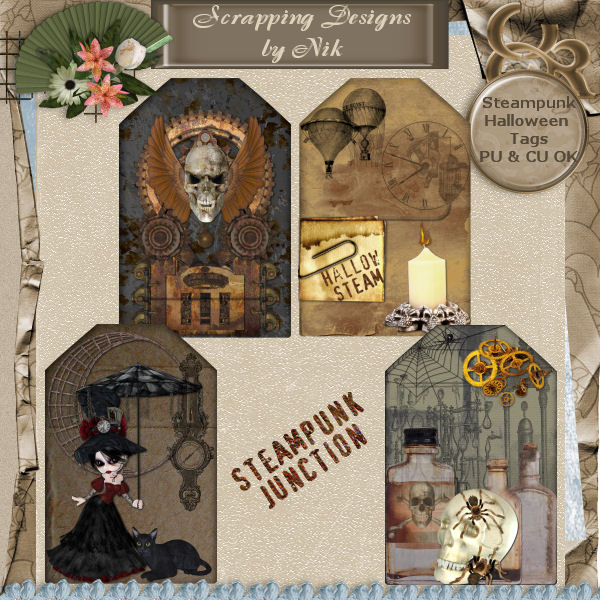 Steampunk Junction Halloween Tags