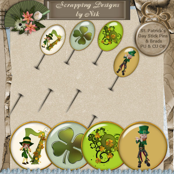 St. Patrick's Day Stick Pins Set