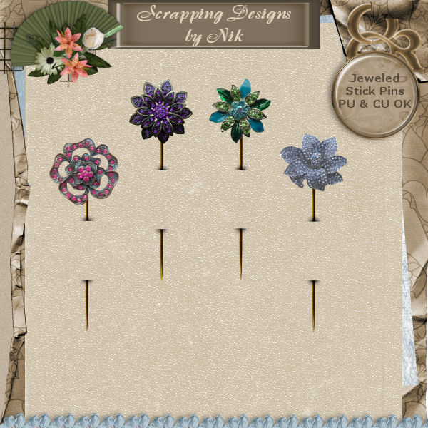 Jeweled Stick Pins