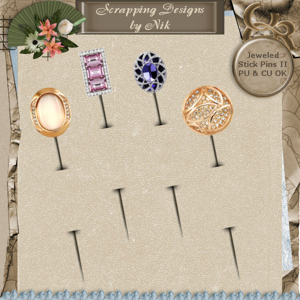 Jeweled Stick Pins II