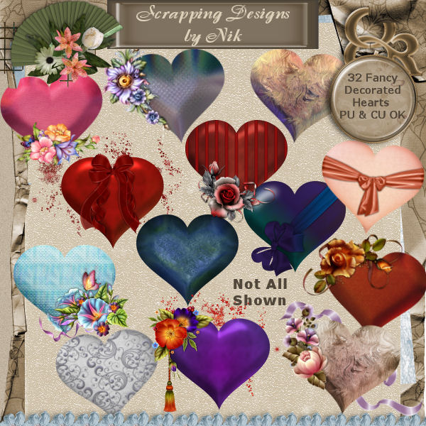 Fancy Decorated Hearts