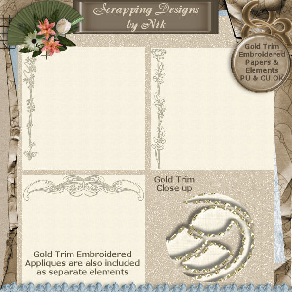 Gold Trim Embroidered Papers
