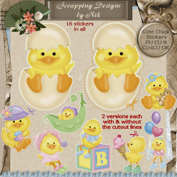 Cute Chick Stickers