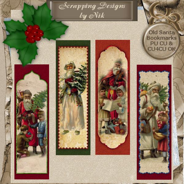 Old Santa Bookmarks