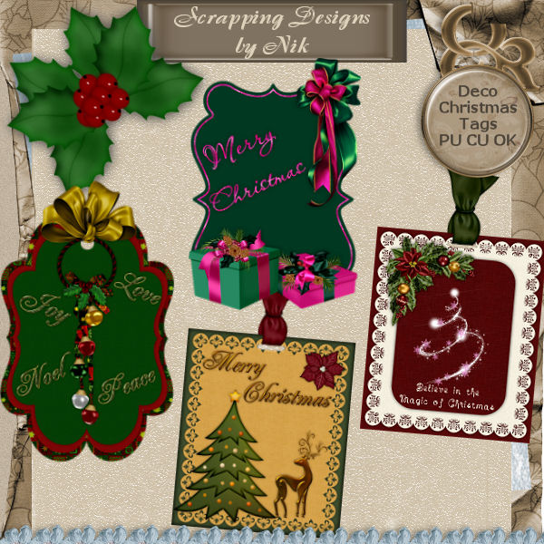Decorated Christmas Tags