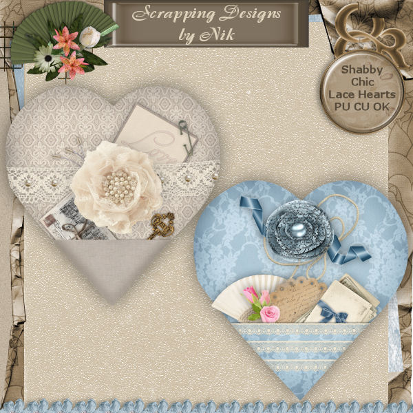 Shabby Chic Lace Hearts