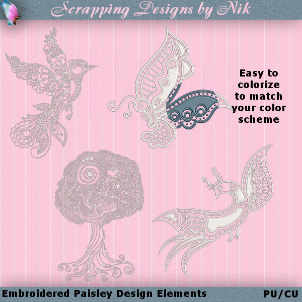 Embroidered Paisley Design Elements