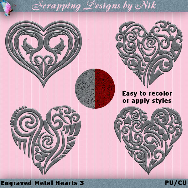 Metal Engraved Hearts 3