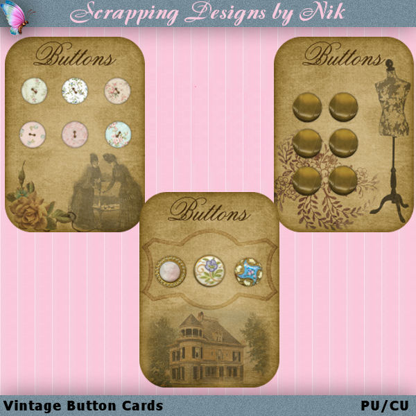 Vintage Button Holder Cards