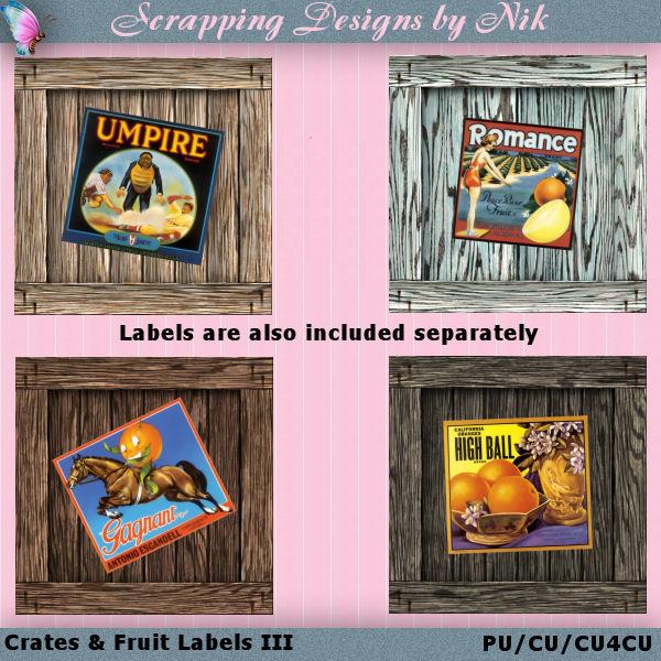Crates & Fruit Labels III