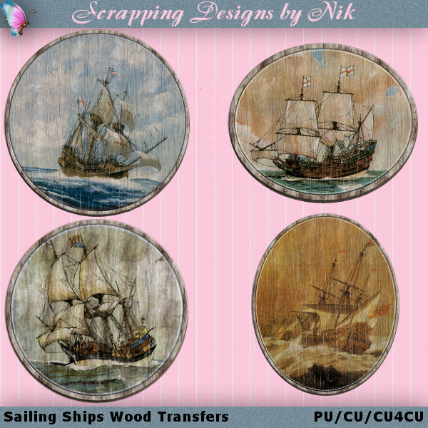 Sailing Ships Wood Transfers