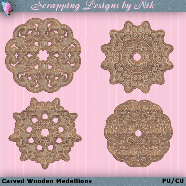 Carved Wooden Medallions