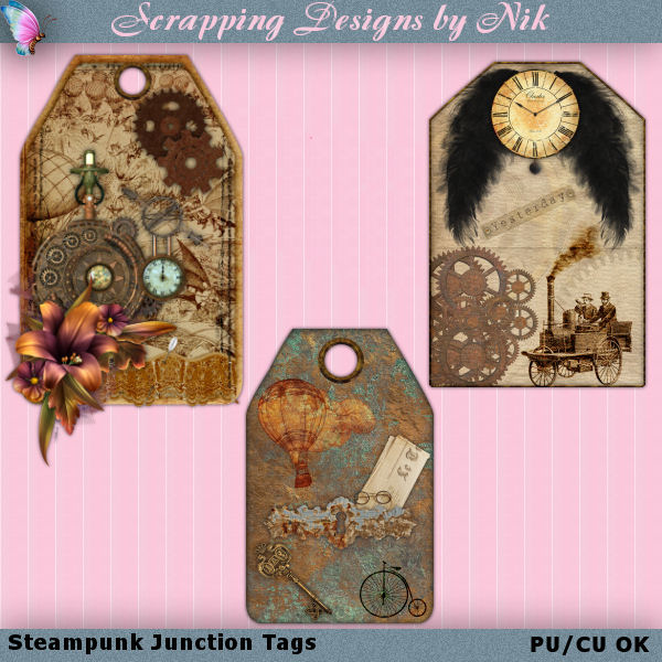 Steampunk Junction Tags