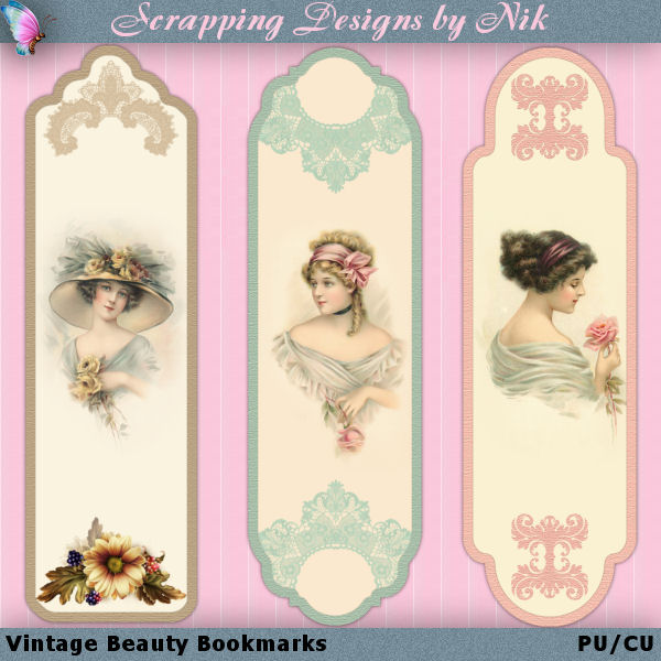Vintage Beauty Bookmarks