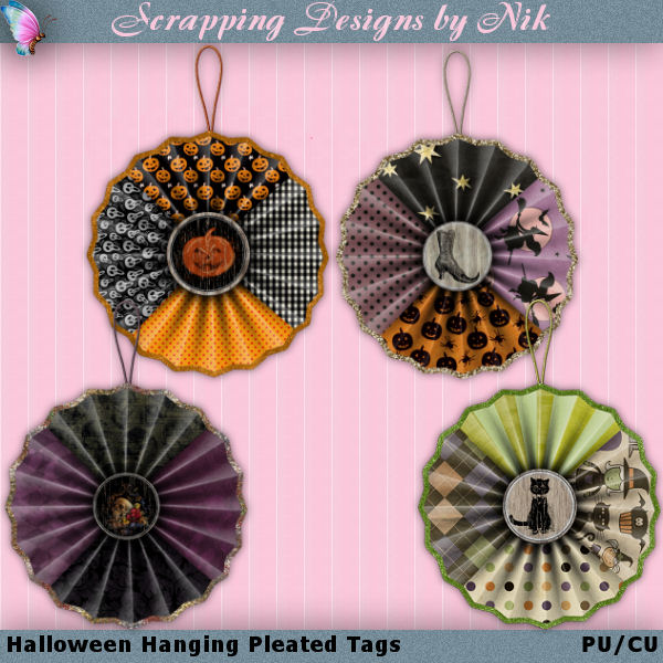 Halloween Hanging Pleated Tags