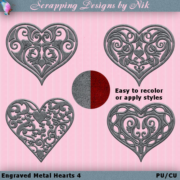 Metal Engraved Hearts 4