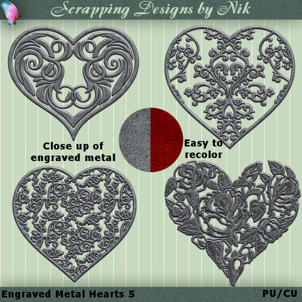 Metal Engraved Hearts 5