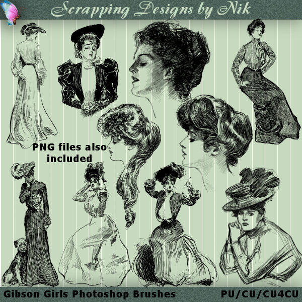 Gibson Girls Photoshop Brushes 1